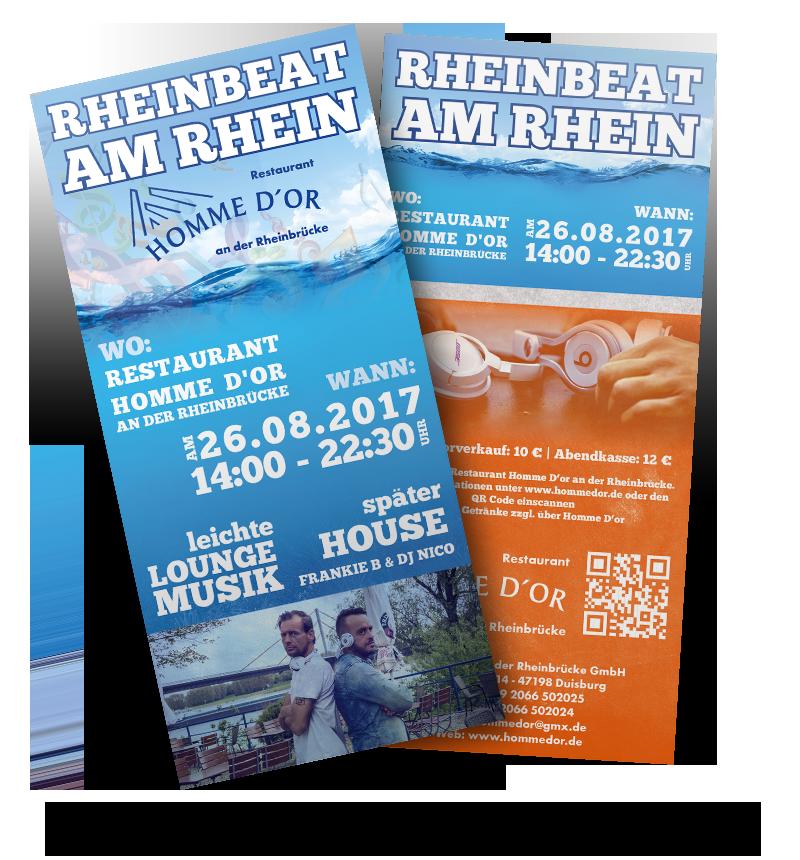 Werbeagentur Hendrich - Design & Fotografie - Homme D'or Rheinbeat am Rhein DINLang