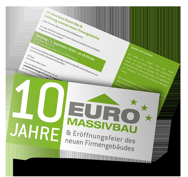 Werbeagentur Hendrich - Design & Fotografie - Euro Massiv Bau Einladungskarte