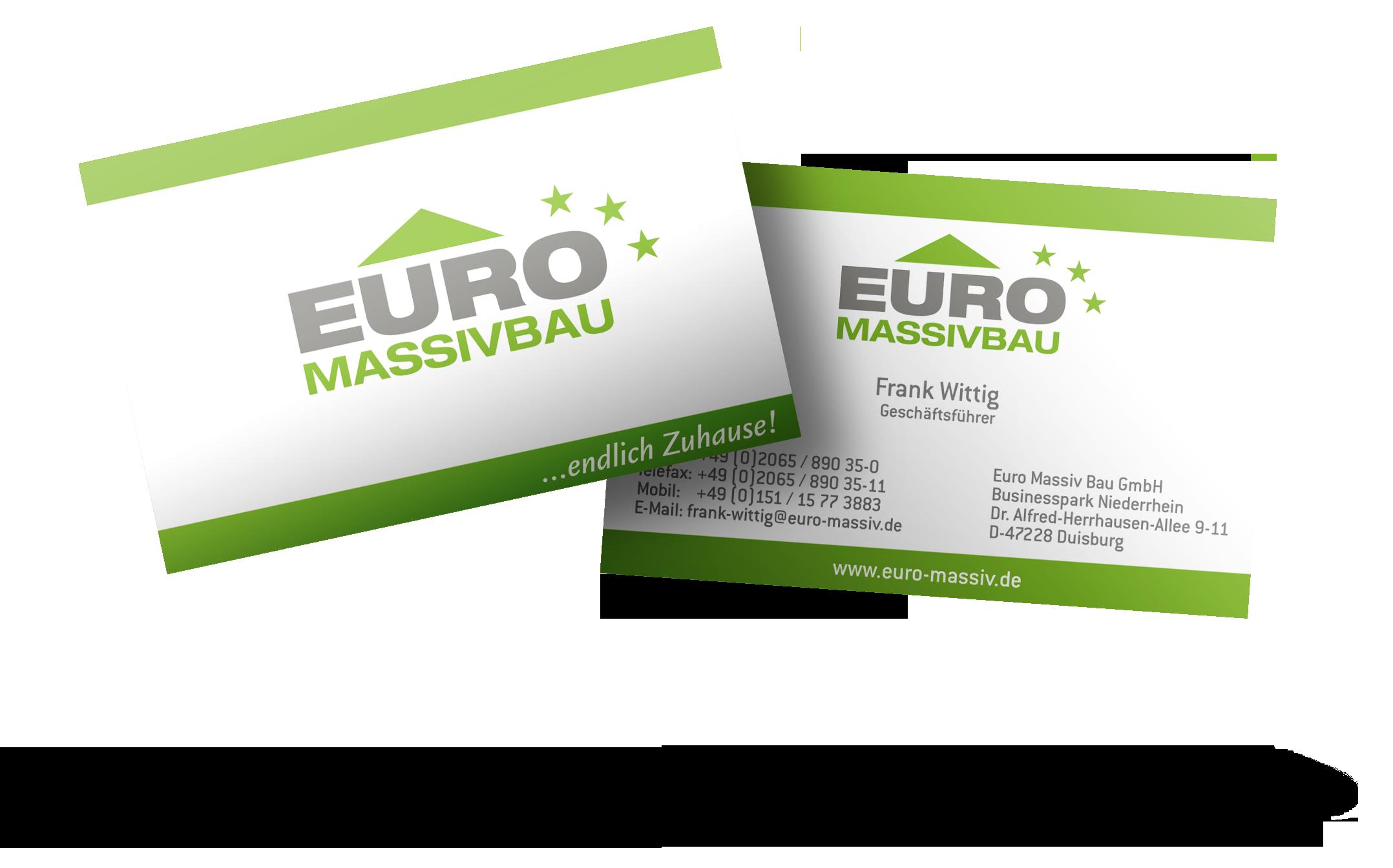 Werbeagentur Hendrich - Design & Fotografie - Euro Massiv Bau Visitenkarte